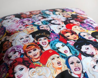 COVERS ONLY RuPaul's Drag Race illustrated and handmade cushion