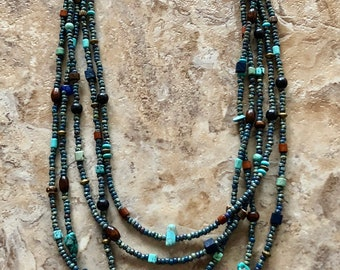 Blue Picasso Beaded Necklace