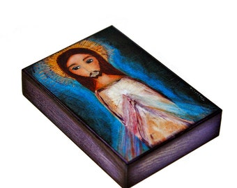 Divine Mercy - Aceo Giclee print mounted on Wood (2.5 x 3.5 inches) Folk Art  by FLOR LARIOS