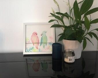 Love Birds - Original watercolor painting-Original Watercolor