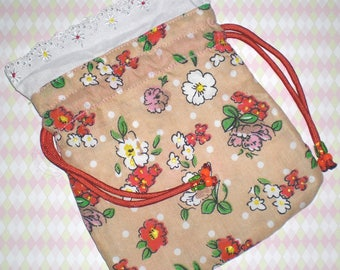 Large Flower Drawstring Bag