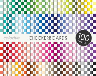 Checkerboards digital paper 100 rainbow colors checkered check squares pattern bright pastel printable scrapbook papers