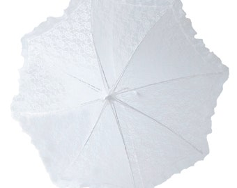 "32"" Lace baby or bridal shower umbrella white parasol"