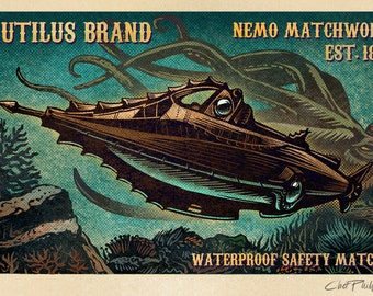 "Nautilus Brand Matchbox Art- 5"" x 7"" signed matted print"