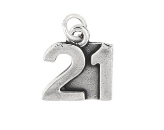 Sterling Silver Large Number 21 Charm Pendant