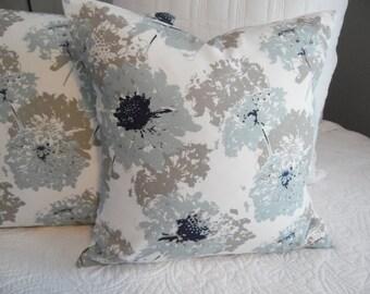 SPA Blue.Floral.Navy.White.LightBlue.Taupe Grey.Throw Pillows.Coastal.Beach.Cottage.Ocean Front Decor.SunPorch.Toss Pillow Covers