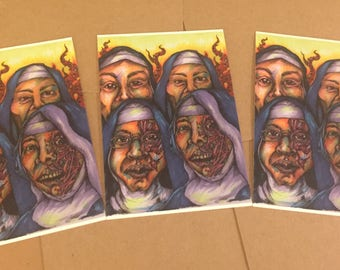 Mixed Media Zombie Postcards SET of 3 Mutant Alien Sisters