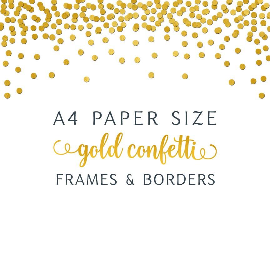 A4 paper size gold foil confetti digital paper jpg png border
