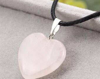 pink quartz heart pendant leather necklace