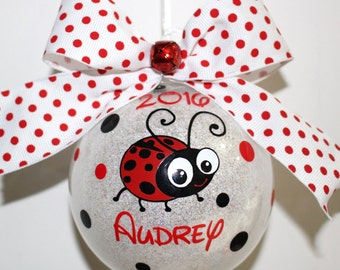 """Ladybug Ornament Personalized Baby's First Christmas Ornament personalized 4"""" Acrylic or Glass ornament made with Vinyl decals"""