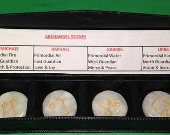 4 Pcs White Onyx Gemstone Engraved Archangel Symbols Set ~ Reiki ~ Chakra ~ Healing ~ Spiritual ~ Meditation ~ Aura ~ Protection ~ Guidance