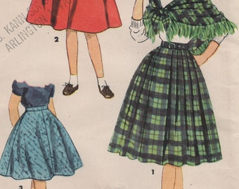 Girls Vintage Pleated and Flared Skirts with Shawl, Size 10 Sewing Pattern, 1950s Back to School Fashions