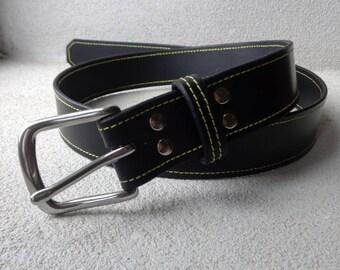 Mans Belt, Gents Belt, Black Belt, Leather Belt,Handmade Leather Belt,Yellow Stitched Belt, Gift for Him, Gents Gift, Made to Measure Belt