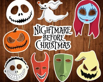 The Nightmare Before Christmas Photo Booth Props - Printable PDF - Halloween Photo Props - INSTANT DOWNLOAD