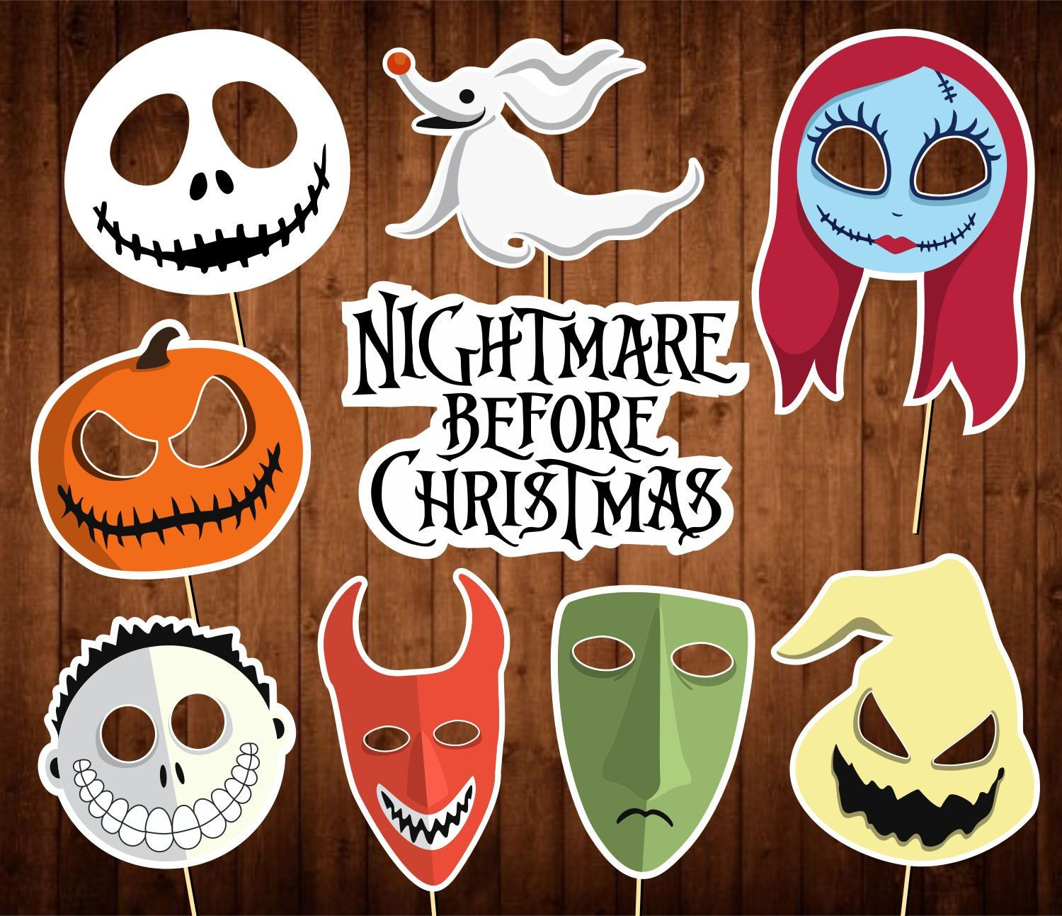 The Nightmare Before Christmas Photo Booth Props Printable