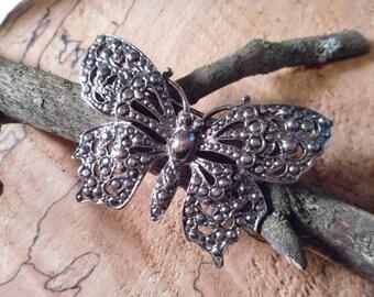 Ornate vintage  Butterfly Metal Brooch