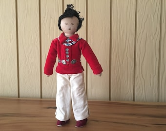 Vintage Cloth Doll. 1950s. Red Velvet. Handmade. Native American. Folk Art