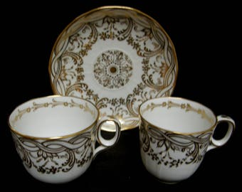 ANTIQUE c.1850 Davenport gilded trio ~ Tea cup, coffee cup and saucer