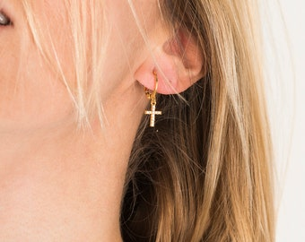 Cubic zirconia pave cross charm hoop earrings, 24Kt gold plated brass · boho jewelry · zirconia · trend · bohemian · amulet · dainty