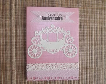 "Card pink ""happy birthday"", handmade."