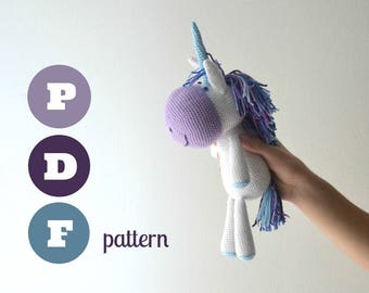 Amigurumi unicorn pattern. Instant download file. Rosalia, cute fantasy animal