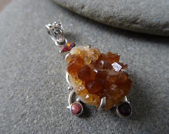 925 Sterling Silver pendant/ Citrine Druzy Pendant/ Rainbow Topaz/ Handmade Pendant