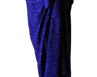 Indigo Beach Sarong Skirt Batik Pareo Womens Clothing Wrap Skirt Beach CoverUp - Dark Indigo Blue Starry Nite Spiral Motif Sarong Wrap Skirt