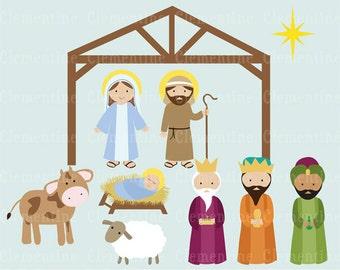 nativity clip art etsy rh etsy com free nativity clipart to colour free nativity clipart to download