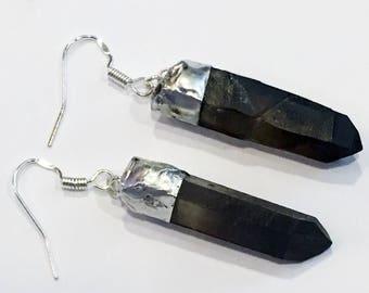 Smoky Quartz Crystal Sterling Silver earrings
