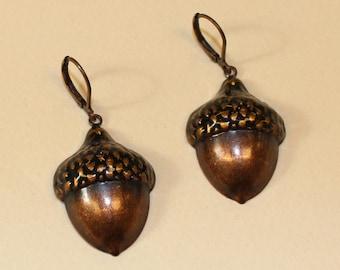 Vintage, Acorn Earrings in Copper Tone