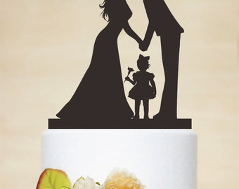 Wedding Cake Topper,Couple Silhouette with a litter Girl,Custom Children Cake Topper,Cake Decoration,Personalized Family Cake Topper P156