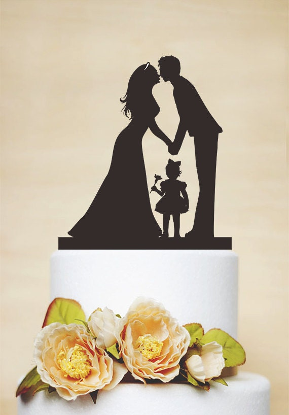 wedding cake toppers with children wedding cake toppercouple silhouette with a litter 26629