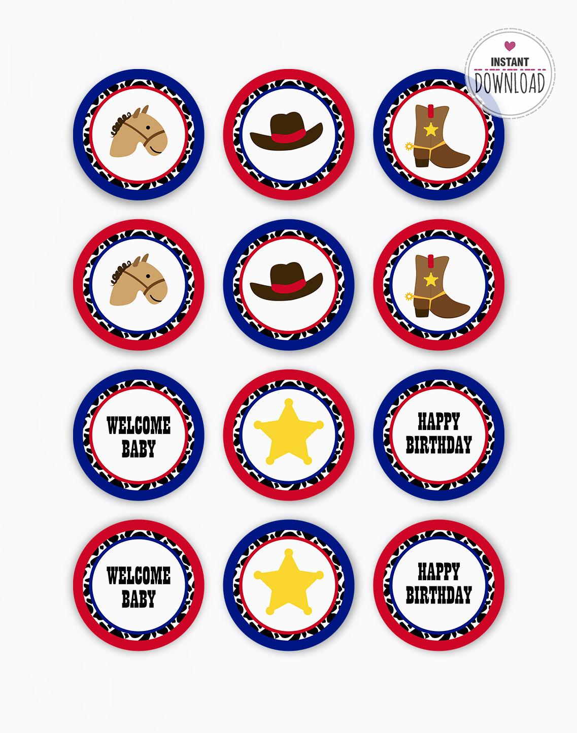 Cupcake Cowboy / DESCARGA imprimible pdf / Tarjeta fiesta