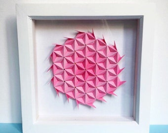 Pink Wife Gift, Pink Flower Wall Art, Origami Wall Art, Origami Art, 3D Paper Art, Paper Wall Art, Modern Wall Art, Pink Wall Decor