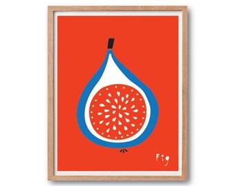 Fig Art print, Fruit Illustration, Kitchen decor, Vegetable Print, Fruit Print, Botanical Illustration, Botanical Print