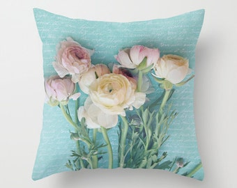 Throw Pillow Case - Pretty Springtime Ranuculus Pink, ivory, powder blue- Home Decor,  Photography RDelean Designs