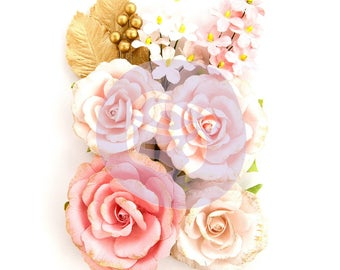 Prima Marketing Heaven Sent Two Flower Embellishement In Style~ Ashby New Release In Stock Ready To Ship