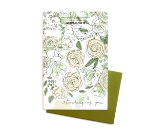 Floral Sympathy / Get Well Card, White Roses and Sage  Thinking of You,