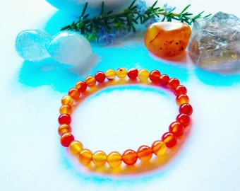 Carnelian 6mm bead handcrafted genuine gemstone crystal bracelet