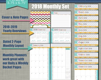 """20% OFF: 2018 Printable Monthly Planner - Signature Design - Calendar Year - Sized X-Small (personal size) 3.75"""" x 6.75"""" PDF"""