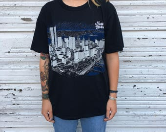 Vintage 80s 90s New York City Skyline Jerzees Black Short Sleeve Graphic Tee Shirt - XL