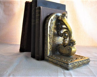 Vintage Hollywood Regency BOOKEND  Hollywood GLAM Single Polyresin Bookend HEAVY Vintage Metallic Gold Bookend