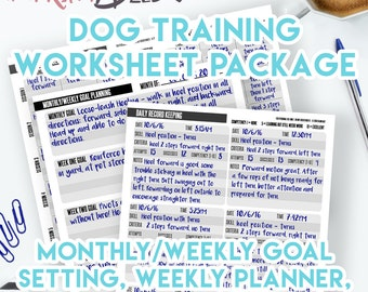 Printable Planner Dog Training Planner and Record Keeping Worksheets! Instant Download, 8.5x11 PDF, Dog Training Plan, Dog Record Keeping