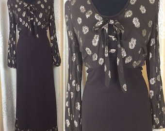 ON TREND** Glamorous Boho Chic Vintage 1970's Chocolate and Gold Lurex Maxi Dress  UK Size 14 Seventies 70's