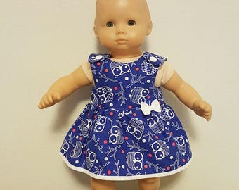 Bitty Baby Bitty Twin Doll Clothes - Blue Owls Dress