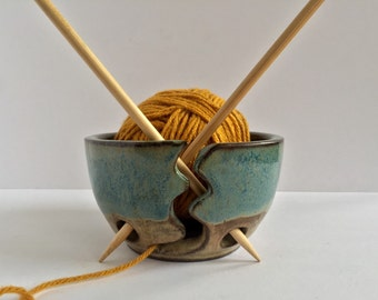 Yarnbowl ceramic Small Handmade  in almond and teal