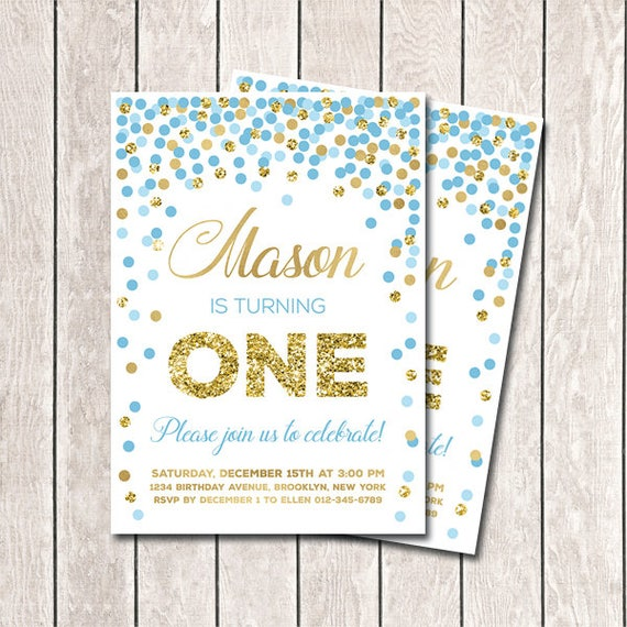 Blue and gold confetti birthday invitation first birthday filmwisefo