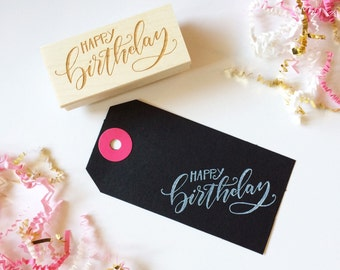 Happy Birthday // Hand-Lettered Stamp