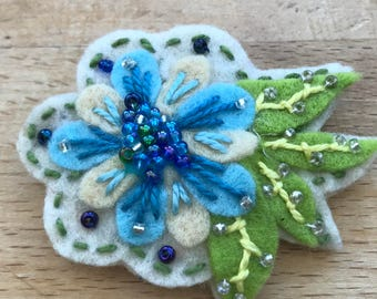 Pretty little handmade felt flower brooch