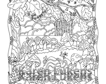 5 pages, Happyville Coloring Pack #7 , 5 Adult Coloring Book Pages, Printable Instant Download